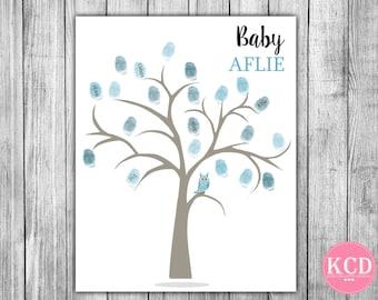 Personalized Custom Baby Shower Tree Family tree Thumb print poster Fingerprint Tree Boys Girls Nursery Art Print Guest Book Alternative 08