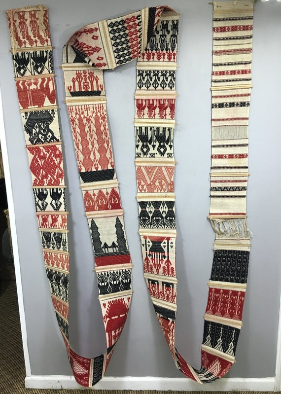 Textile Burma Chin Tribe Woven Textile Door wall Decoration Handmade  Home Wall Door Burma Old Woven Black White Red Tribal Weaving Unqiue