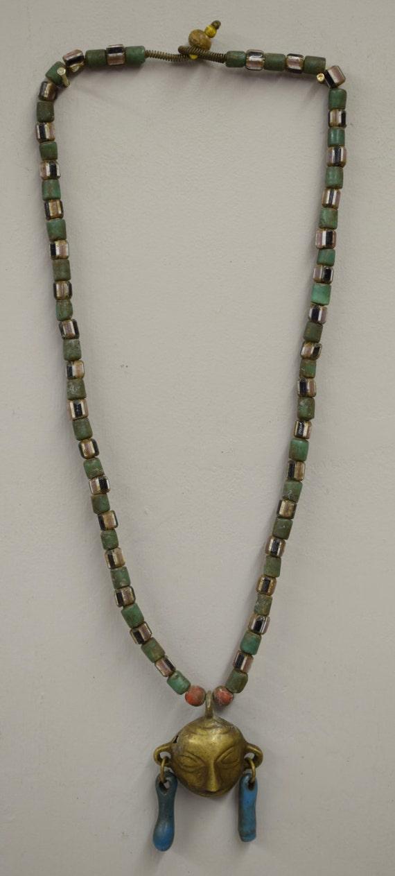 Naga Necklace Brass Head Pendant India Handmade Green Beads Black White Red Chevron Glass Trophy Naga Brass Head Necklace Unique
