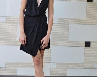 Wrap Drape Dress - BLACK