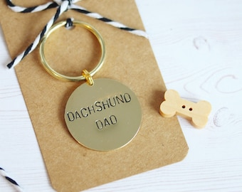 Dachshund Dad  Hand stamped Keyring, personalised with dogs name