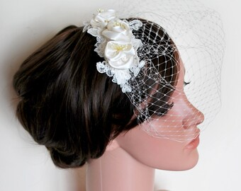 Birdcage veil, bridal veil, wedding veil, blusher veil, 50's veil, tulle birdcage veil, ivory birdcage veil, bird cage veil, mini veil