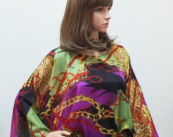 Silk Kaftan caftan blouse gold purple red green abstract animal print silk top free size