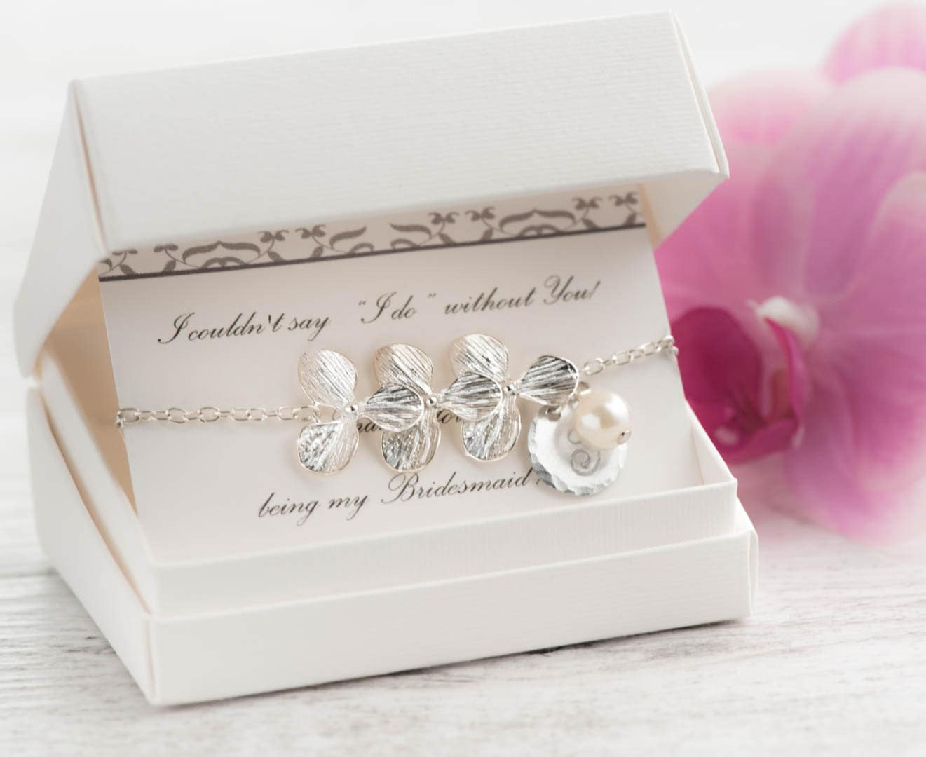 Hawaii Wedding gift set of 7 pearl orchid bridesmaid letter