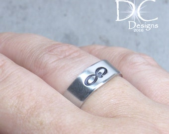 SALE Silver Stamped Ring - Infinity Ring - Stamped Sterling - Promise Ring - Silver Infinity Ring - Handstamped Jewelry - Infinity Jewelry
