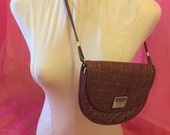 Vintage 1980s faux snakeskin  brown leather satchel cross over handbag. Birthday present prop  photo shoot  festival accessory.