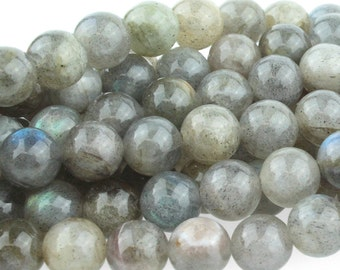 Labradorite Beads, Genuine Labradorite Gemstone, Grayish Blue Labradorite, Smooth Round Gray Gemstone Mala Beads, 8mm - 25 beads (ST-55)