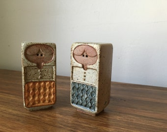 Mid Century Modern Vintage UCTCI Japanese Stoneware Salt and Pepper Shakers