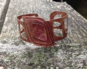 Rustic copper cuff, hand forged metal, open leaf bracelet
