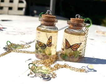 SALE Monarch Butterfly in a bottle charm or necklace, Butterfly charm or necklace, Butterfly Flower charm, Milkweed Butterfly charm/necklace
