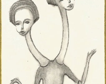 ORIGINAL ACEO, Surreal Illustration, Folk Outsider Art, Miniature, Collectible, Trading Card, Whimsical, Circus, Pencil Drawing, Weird, OOAK