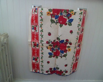 "Vintage 1940s/50s Kitchen Dish Tea Towel Toweling Cloth Table Runner 16 x 35"" Fruits Unused #1"