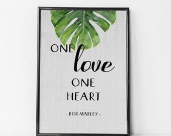 Bob Marley Quote, One Love, Rastafari Quote, Reggae Music, Rasta Printable, Print It Yourself, Bob Marley, Home Decor, Photo Frame