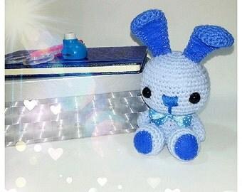 Blue crochet bunny toy - Stuffed bunny - Crochet rabbit - Newborn boy gift - Newborn boy toy - Toddler boy toy - Toddler boy gift