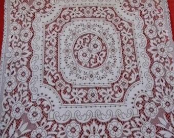 Vintage Machine Lace Table Cloth *  130cm x 116cm * Shabby Chic * Vintage High Tea *