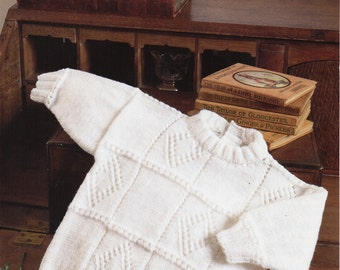baby knitting pattern pdf baby sweater childs sweater pattern panel 16-26 inch 4 Ply instant download