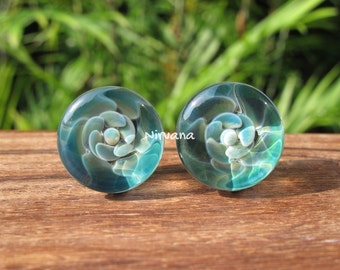 "Ocean Flower Plugs Pyrex Glass Gauges 00g 7/16"" 1/2"" 9/16"" 5/8"" 3/4"" 1"" 9.5 mm 10 mm 12 mm 14 mm 16 mm 18 mm 20 mm 25 mm"