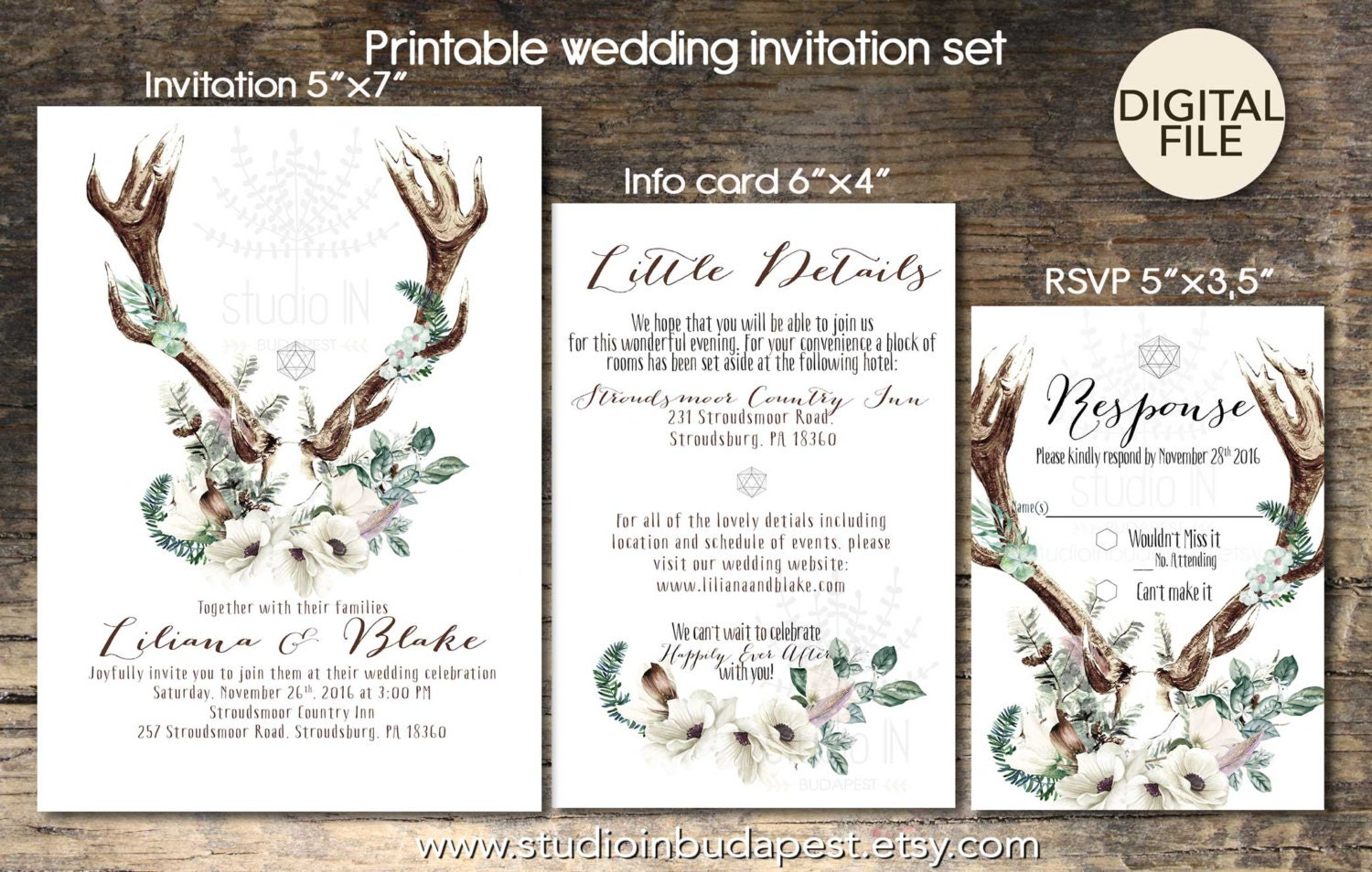 Wedding Invitation Cards Buy Online: Bohemian Wedding Invitation Boho Rustic Wedding Invite