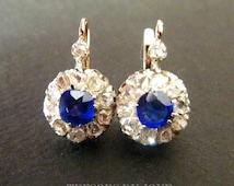 Antique Diamond Earrings Antique Sapphire Flower Cluster Earrings 18kt GOLD EARRINGS 1.25 ct French Leverbacks 1850 from Paris TresorsDuJour