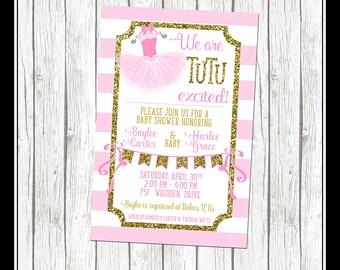 Tutu Invitation, Tutu Excited Invitation, Tutu Shower Invitation, Girl Baby Shower Invitation, Bow and tutu, Tutu and Bow, Baby Girl, pink
