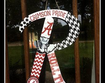 Alabama Door hanger, Crimson Tide Door Hanger, Alabama Door Wreath, Roll Tide Door Hanger,  Houndstooth Door Hanger, Initial Door Hanger