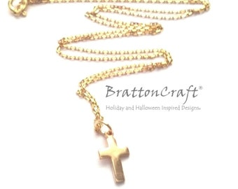 Small Gold Cross Necklace - Gold Easter Necklace - Gold Christian Necklace - Cross Necklace