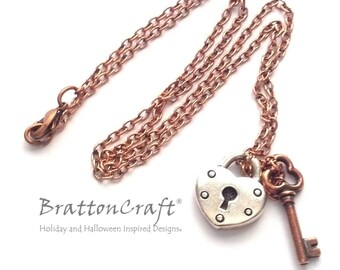 Silver Heart Lock and Copper Key Necklace - Silver Heart Lock and Antique Copper Key Necklace - Valentine Necklace
