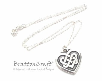 "3/4"" Silver Celtic Knot Heart Necklace - Celtic Heart Necklace - Silver Celtic Necklace - Valentine Necklace"