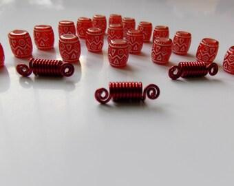 Charm Red Hair Beads, Kids Bead, Acrylic Beads, 36 pcs Kids Hair Beads, Hairstyles for girls, Girls Hair Beads, Pony Beads