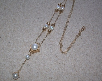 Freshwater pearl 10k gold lariat station necklace