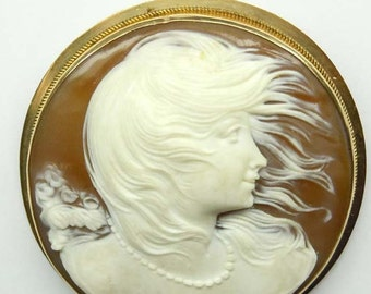 14kt Gold Hand Carved Young Female Hair Blowing In Wind Profile Cameo Brooch Pendant Flowing Locks Hair GAPA