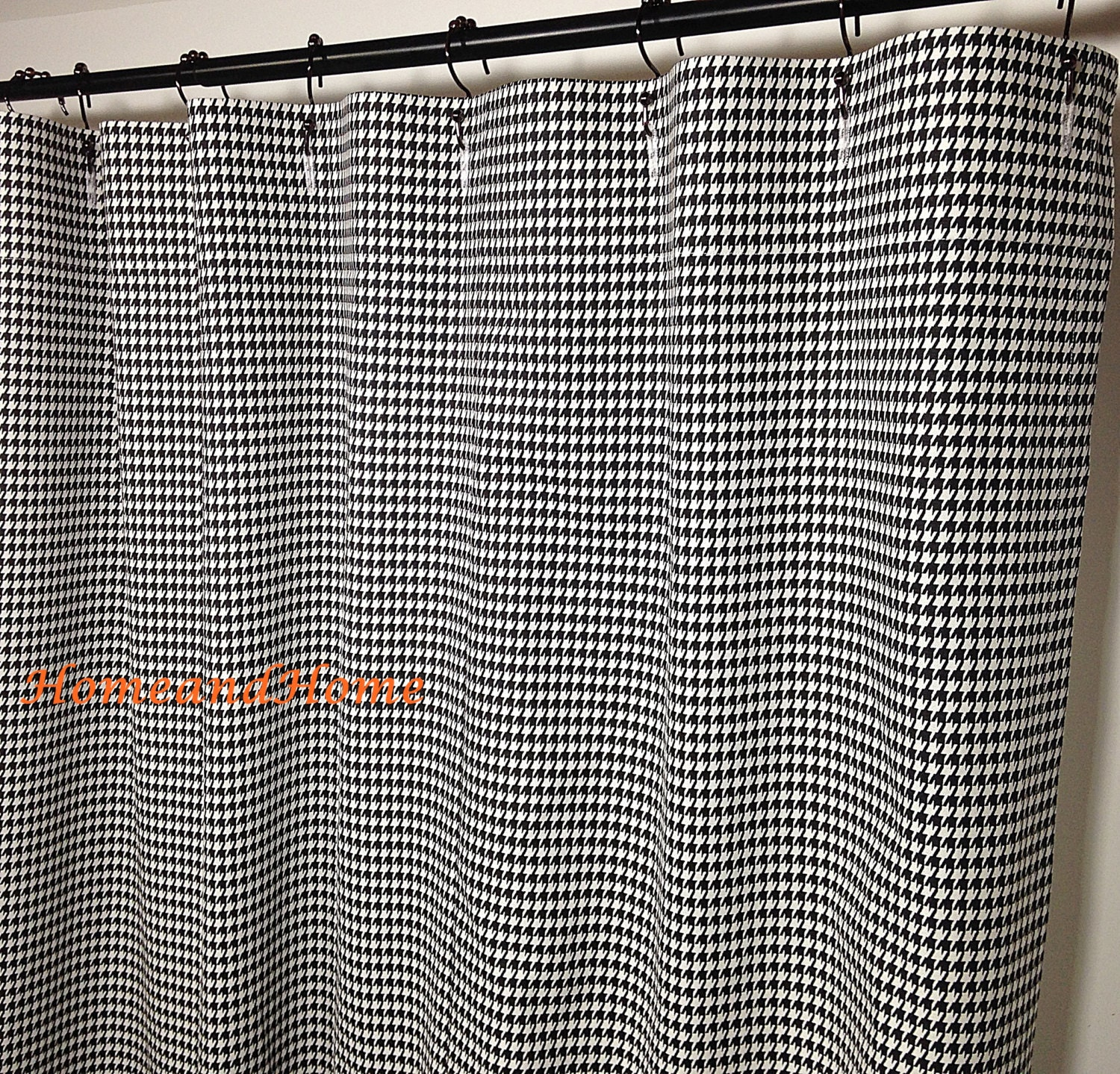 Fabric Shower Curtain Houndstooth Check Black White 72 X 84