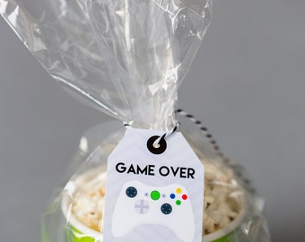 Video Game Favor Tags - Printable Video Game Party Favor Tags - Gamer Party Favor Tag - White Controller Favor Tag by Printable Studio
