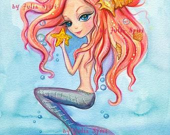 Mermaid Digital Stamps, Sea stamps, Siren, Starfish, Little Mermaid, Shell, Fantasy Ocean, Marine. The  Mermaids Collection. Oceania Mermaid