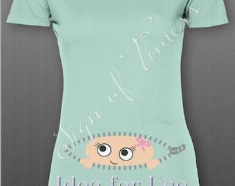 Maternity Shirt SVG, Peekaboo Baby, SVG, PNG, Dfx, Cutting FIle, Cricut, Silhouette, Heat Transfer, Gender Reveal, Zipper, Baby Svg, Baby