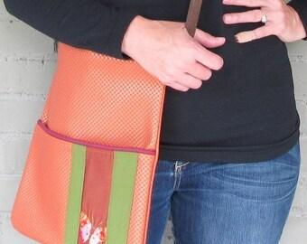 Long Crossbody Bag - Orange Vegan Leather Bag - Butterfly Bag - Butterfly Lover Gift