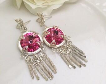 Pink Cristal Drop earrings and Fine silver filigree. Swarovski  Earrings. Sterling earrings. Dangle earrings. Chandelier earrings. Earrings