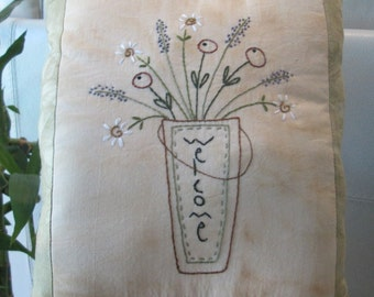 Spring Blossoms Decorative Pillow - Hand Embroidered