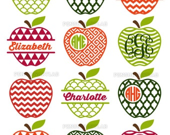Apple Monogram Frames and Split SVG Cutting Files - Teacher Cut Files for Cutting Machines - Cricut, Silhouette, SVG, Eps, DXF, Png, Studio3