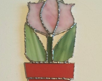 Stained Glass Tulip Flowerpot