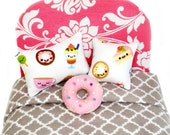 Pink Donut Pillow Set, Kawaii Doll Pillows and Doll Accessories for Blythe, Pullip, Barbie, Licca, Ever After High, Ever After High, BJD