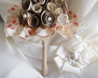 Paper flower wedding bouquet - VIntage, rustic - Vintage book and kraft bridesmaids bouquet