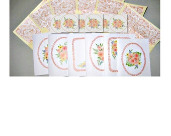 """Watercolour roses handmade notecards set of six  5"""" x 4"""" blank notecards matching lined envelopes and round gloss seals gift set rose design"""