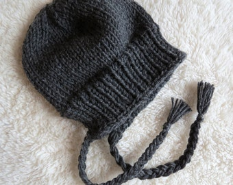 hat with earflap for toddler, handknitted, 100% wool, size 18m, 2m or 3-5 years