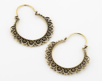 Bohemian earrings. tribal earrings. gypsy earrings. boho earrings. ethnic earrings. hoop earrings. indian earrings. brass earrings.