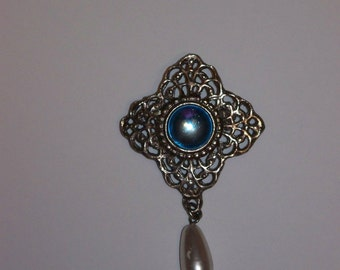 Blue Moonstone and Pearl Pin Brooch