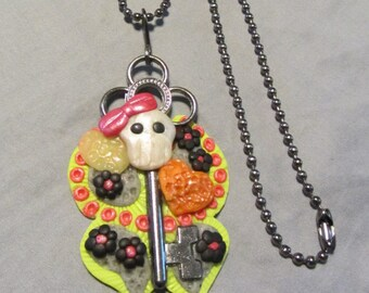 Polymer Clay Jewelry Sugar Skull Butterfly Skullerfly Skeleton Pendant Key Ball Chain Necklace Key Lime Green/Black/Gray