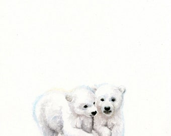 Polar Bear Cubs Watercolor PRINT - Baby Animal Art - Baby Bear Painting - Baby Room Wall Art - Nursery Décor - Baby Shower Gift - Polar Bear