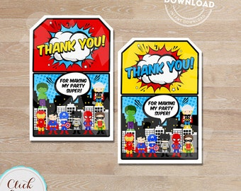 Superhero Favor tags, Super hero Thank you Tags, Superheroes Gift Favors, Birthday party decorations, Party supplies, INSTANT DOWNLOAD