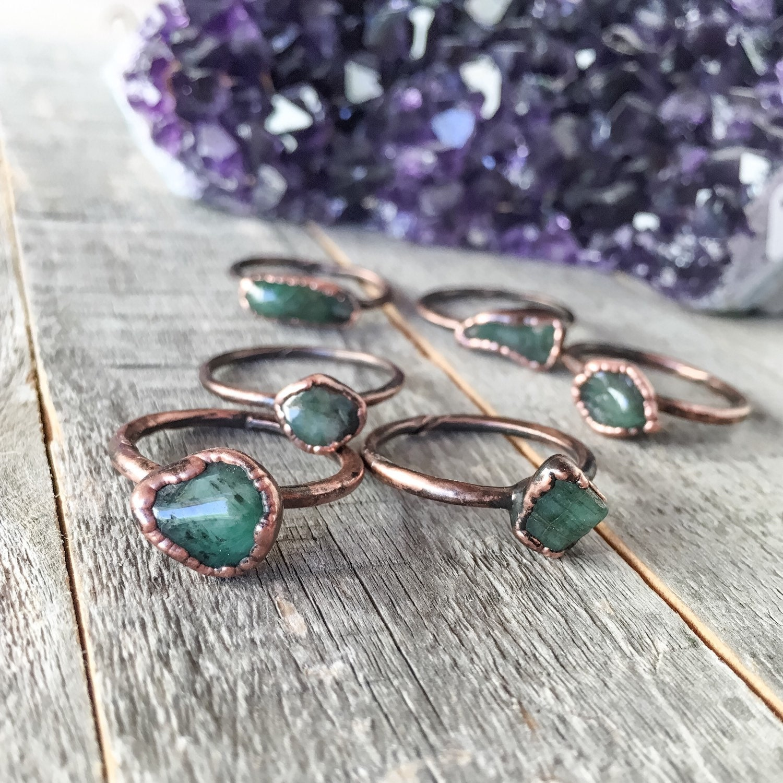 emerald ring may birthstone by crystalspiritdesigns on etsy